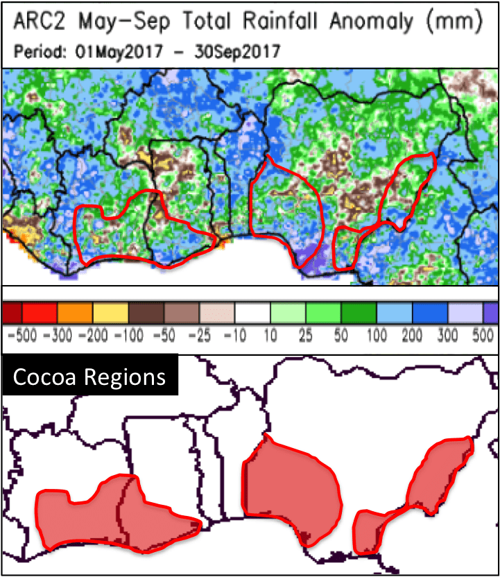 cocoa prices, area, growing regions, rainfall,