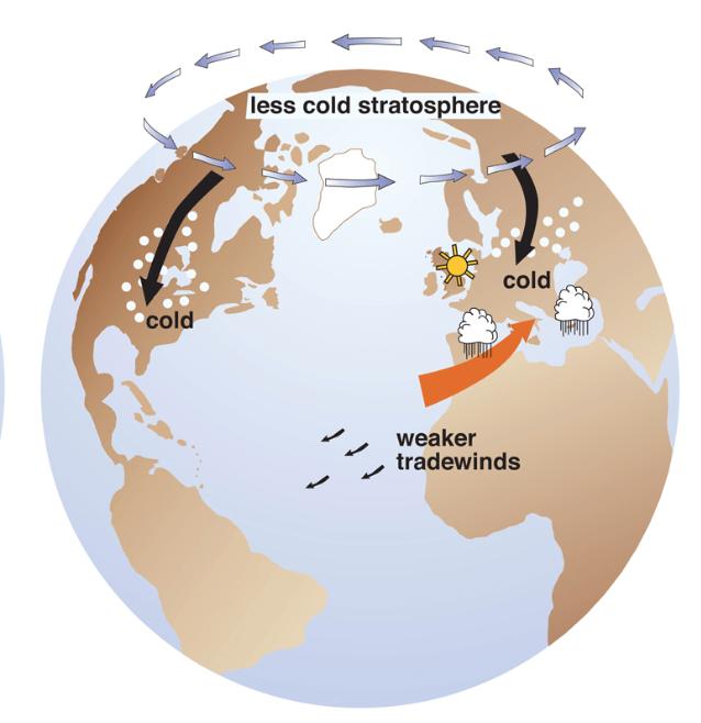 stratosphere, nao, ao, warming, cold, snow