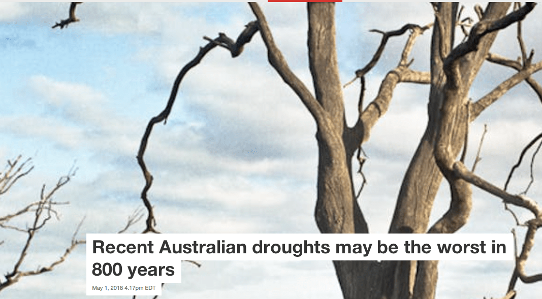 Australia's growing drought and new research about Climate Change vs. historical cycles