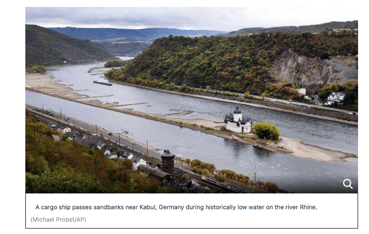 Low Rhine River in Germany causing Chaos and will affect some commodities