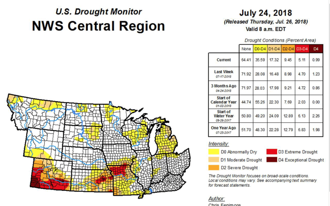 A look at global drought and now western corn/soybean belt has to be watched for heat and dryness in August