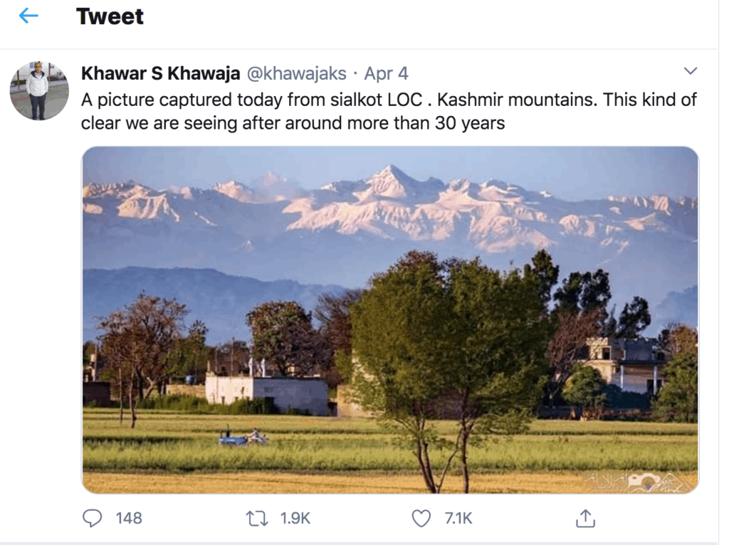 Decreased air polllution due to Covid-19 lockdowns brought clear mountain views to the Himalayan Kashmir region.