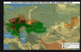 Russia, Ukraine, and Kazakhstan grain producing areas in the drought fo 2010.