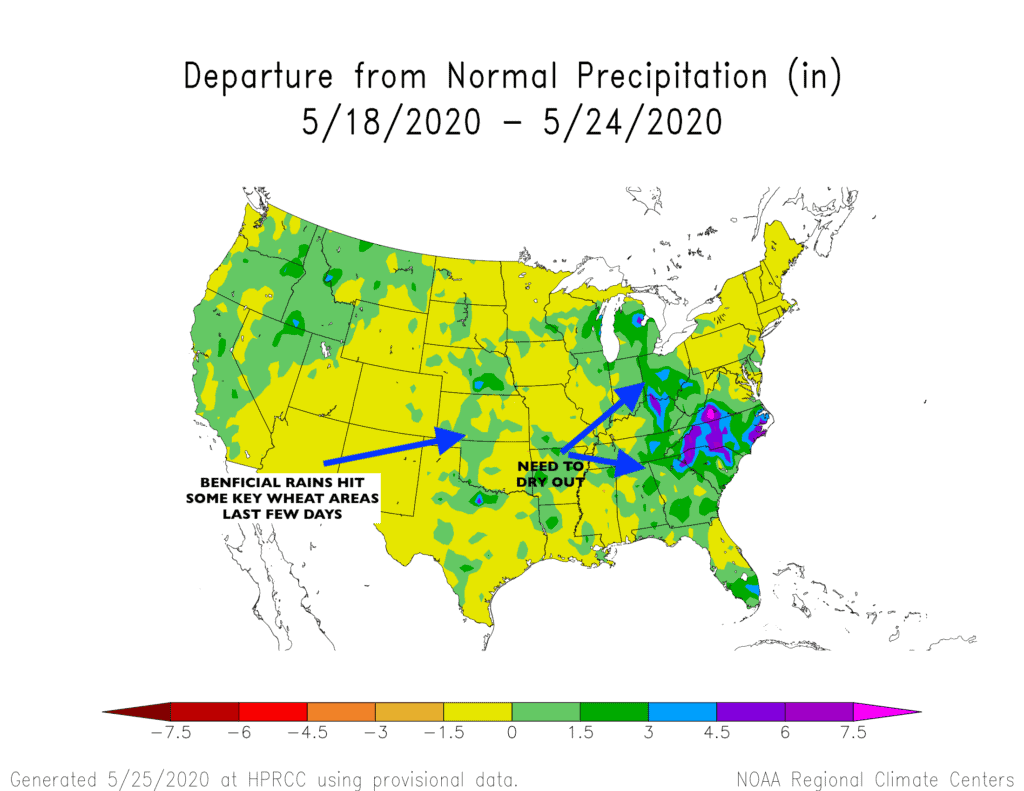 Departure from normal precipitation in the US weather.