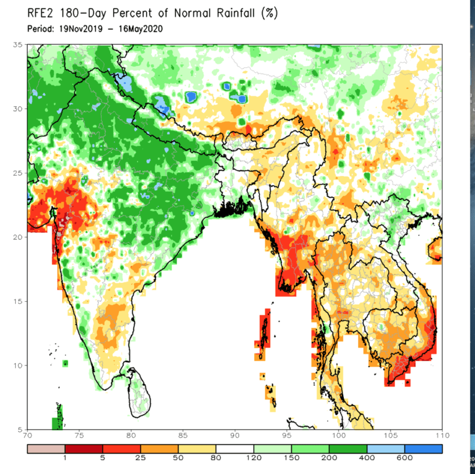 Percentage of normal rainfall for SE Asia.
