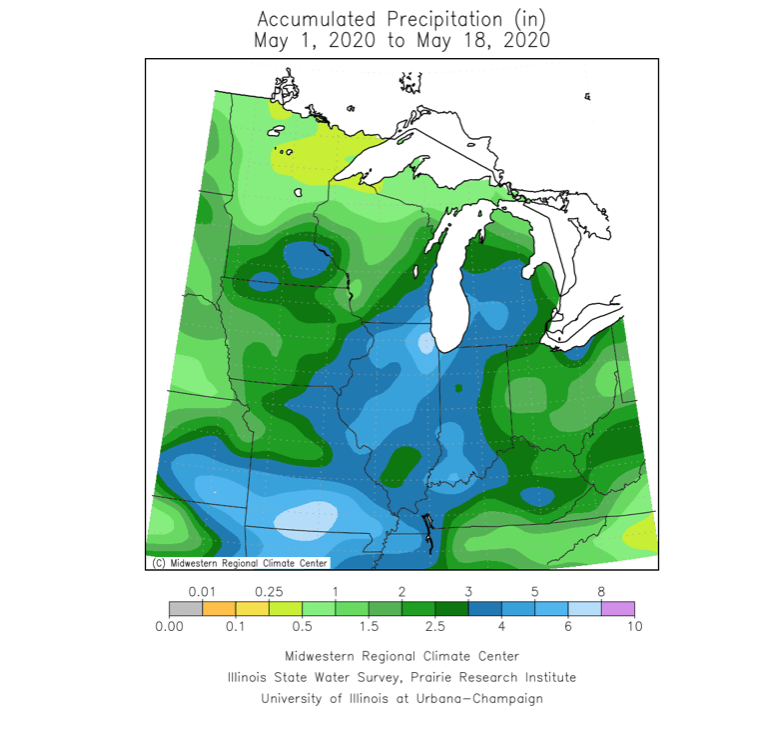 Accumulated precipitation  in Midwest grain areas.