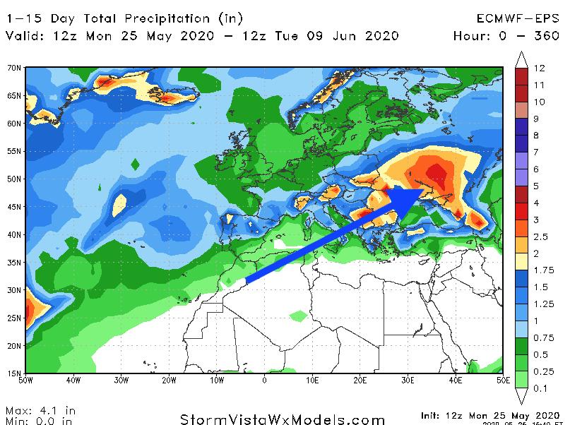 Wet weather in Eastern Europe.