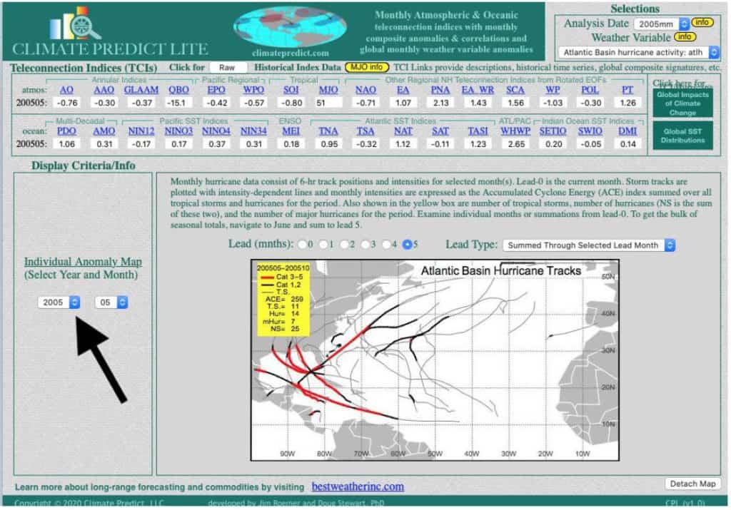Individual anomaly map and hurricane tracks.
