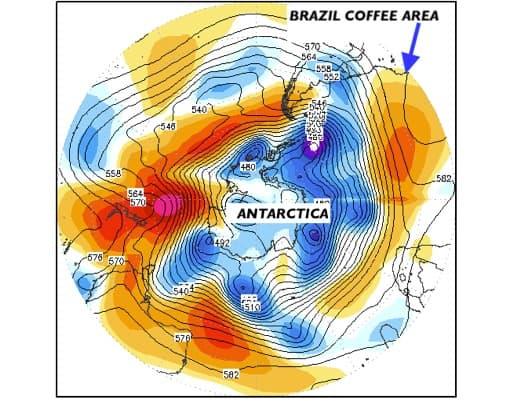 Brazil coffee area and Antartica