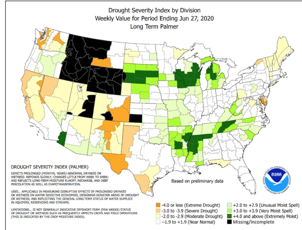 Drought severity isn't hitting corn belt weather