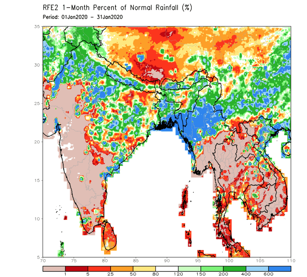 Precipitation for coffee areas in Asia