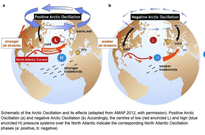 oscillation, arctic, index, melt, ice, snow